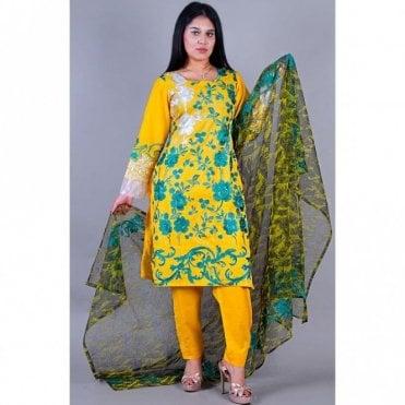 ML 12127 Cotton Suit with Chiffon Dupatta
