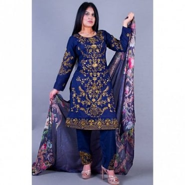 ML 12148 Cotton Suit with Chiffon Dupatta