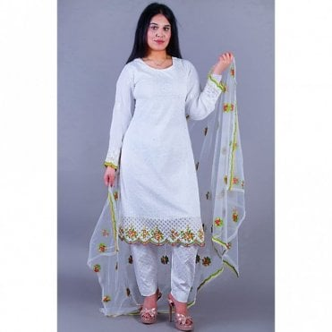 ML 12125 Cotton Suit with Net Dupatta