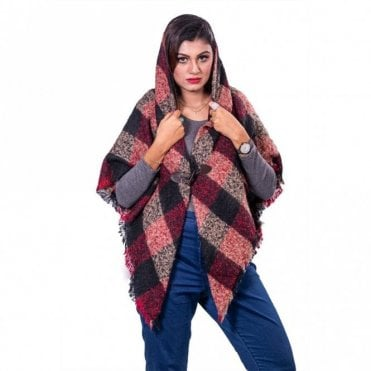 ML 31841 Women's Hooded Poncho Shawl